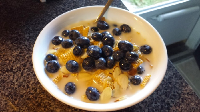 rice chex & blueberries
